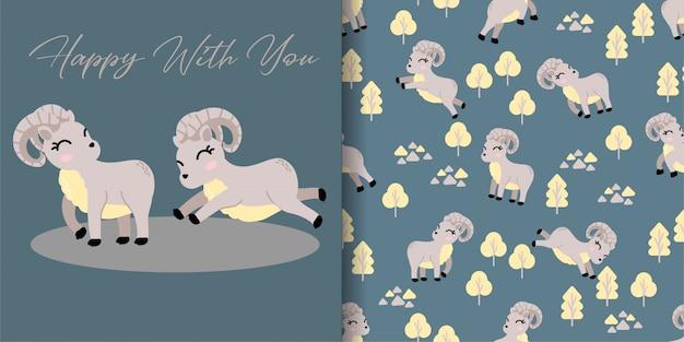 Cute urial cartoon animal seamless pattern with illustration card set Premium Vector