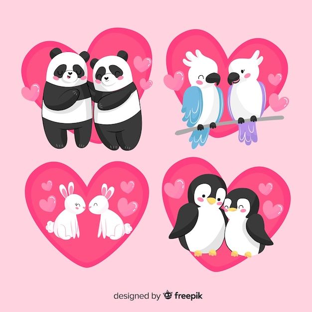 Cute valentine animal couples pack Free Vector