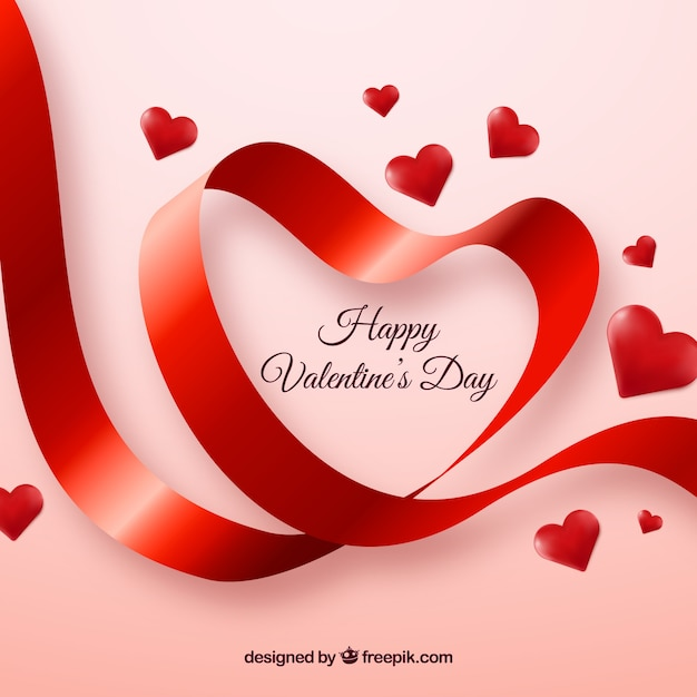 Cute Valentine Background Of Ribbon Vector Free Download