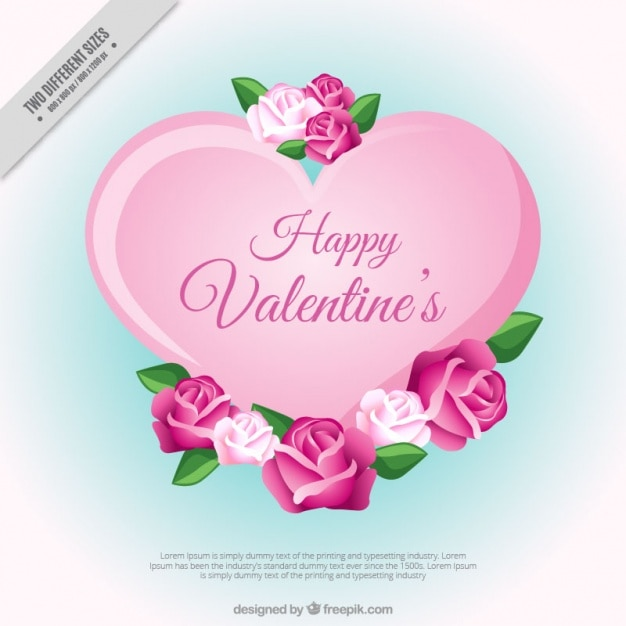 Cute valentine background with flowers in pink\ tones
