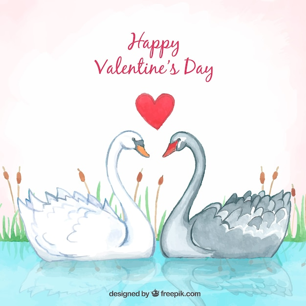 Cute valentine background with swans Free Vector