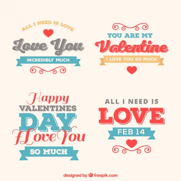 Cute valentine badges in vintage style Free Vector