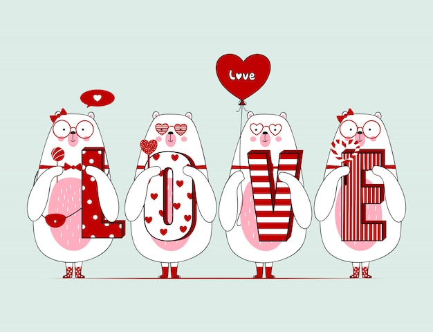 Cute valentine bears with Premium Vector