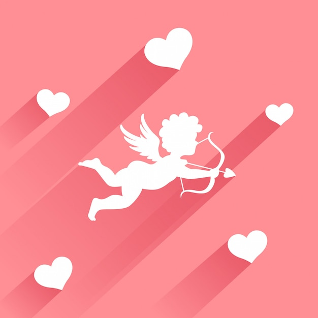 Cute valentine card with silhouette of angel cupid with arrow Premium Vector