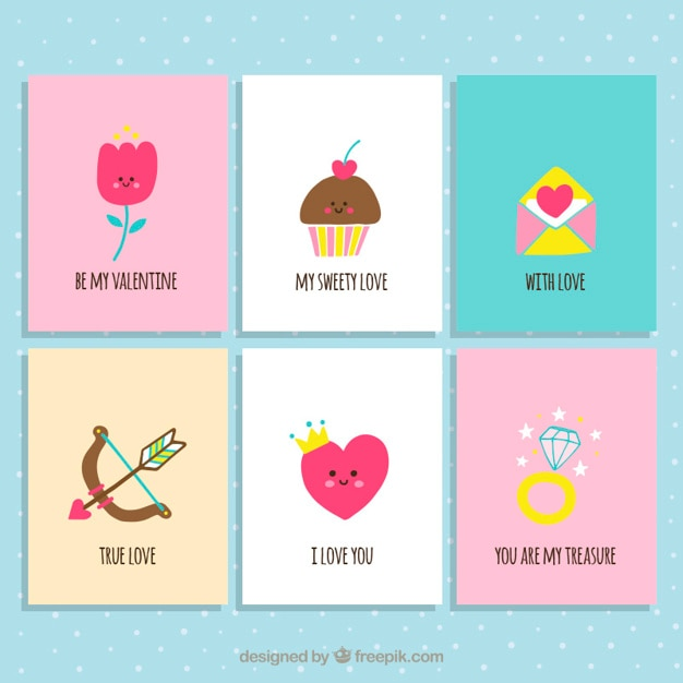 cute valentine day cards collection vector premium download