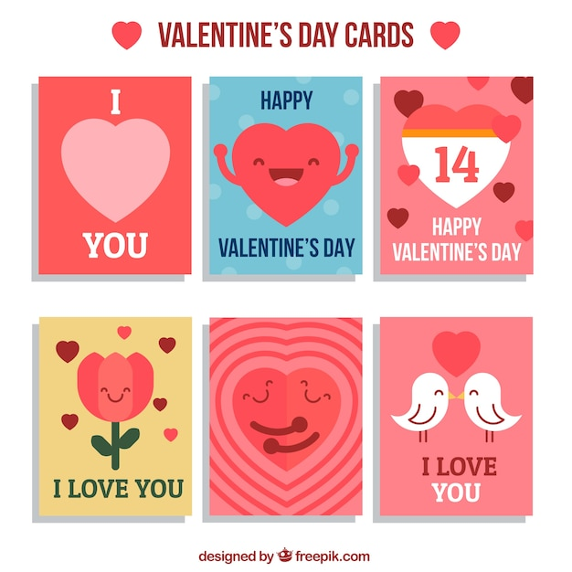 cute valentine day cards pack vector premium download