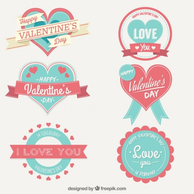 Cute Valentine Day Labels Collection Vector | Free Download
