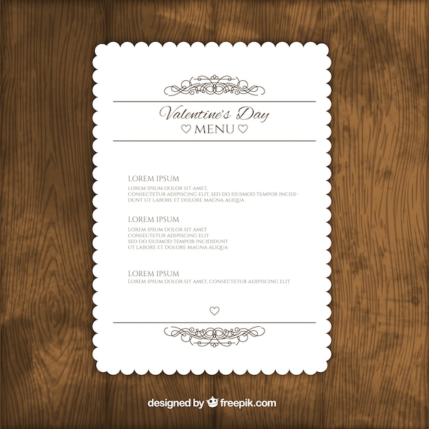 Cute Valentine Day Menu Template Vector Free Download