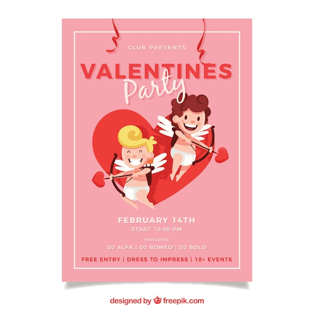 Cute Valentine Flyer Template Vector Free Download