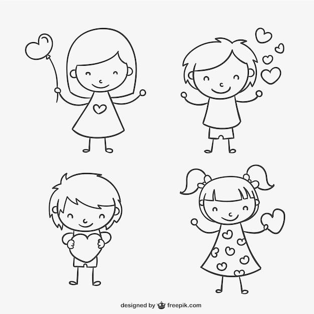 cute valentine kids vector