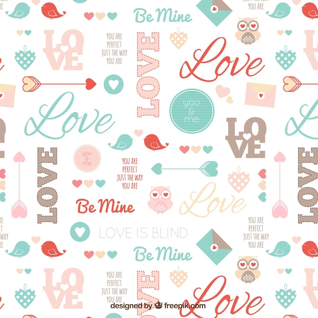 Cute valentine pattern Free Vector