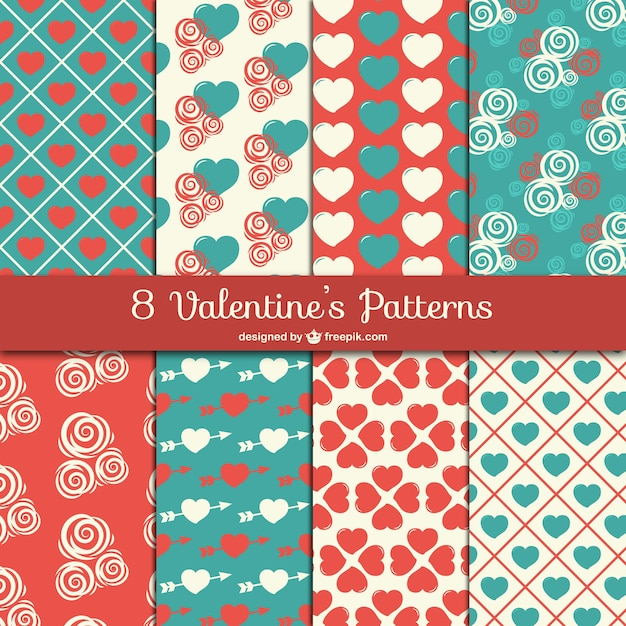 Cute valentine patterns Free Vector