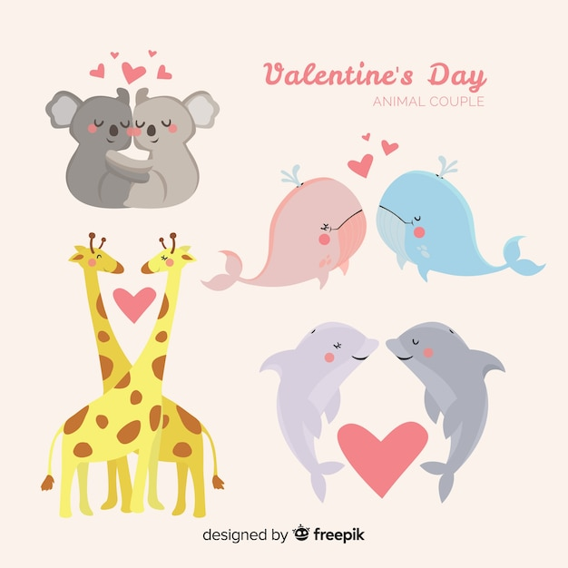 Cute valentine's day animal couple collection Free Vector