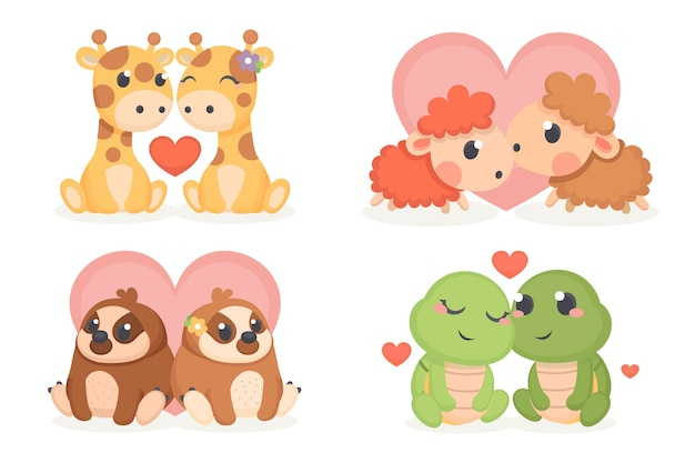 Cute valentine's day animal couple set Free Vector