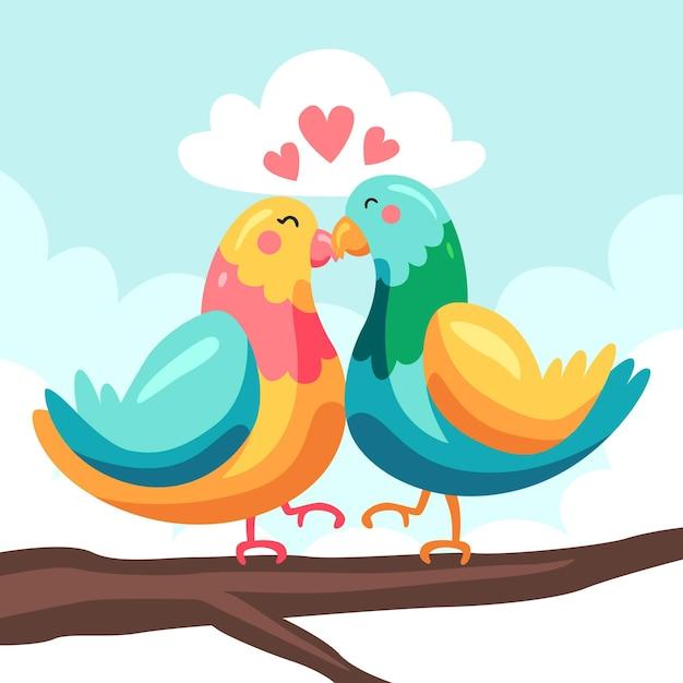 鳥とかわいいバレンタインデーの動物のカップル 無料ベクター