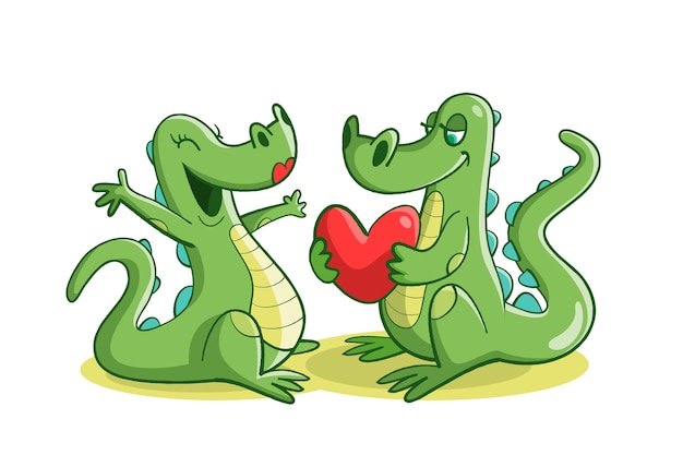 ワニとかわいいバレンタインの動物カップル 無料ベクター