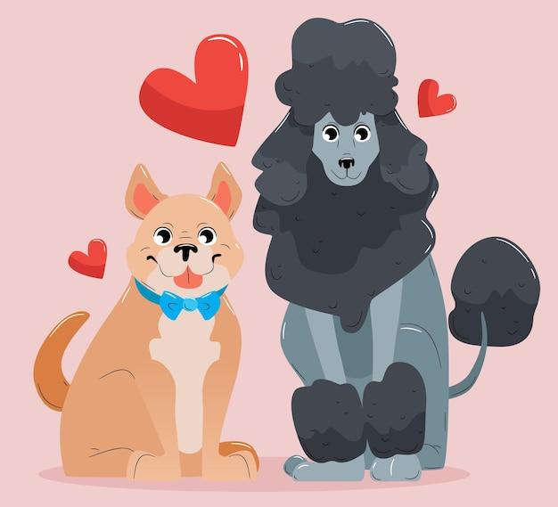 Милая пара животных на день святого валентина с собаками Бесплатные векторы