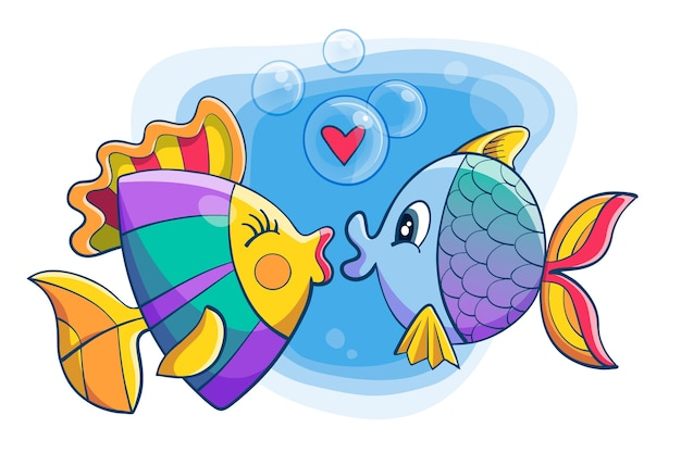 Cute valentine's day animal couple with fish Free Vector