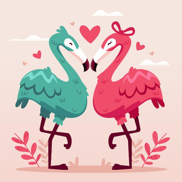 Cute valentine's day animal couple with flamingos Free Vector
