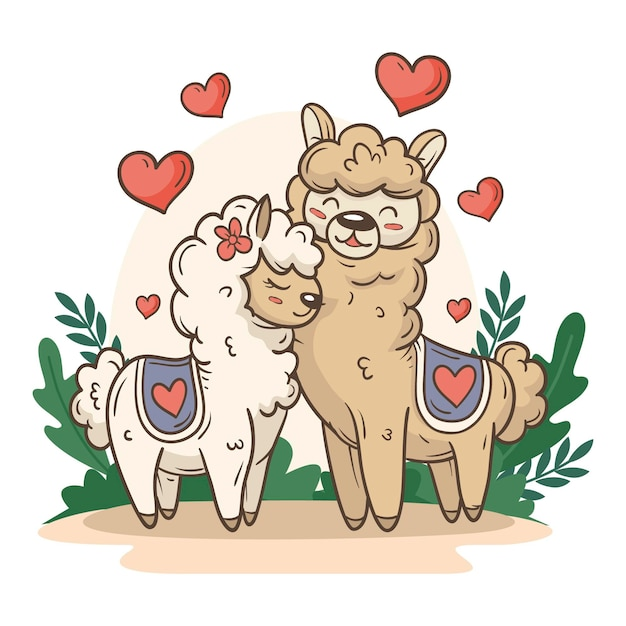 Cute valentine's day animal couple with llamas Premium Vector