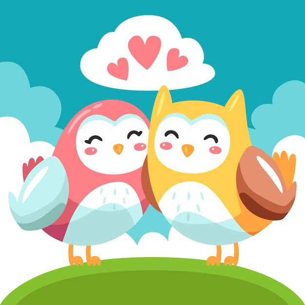 Cute valentine's day animal couple with owls Free Vector