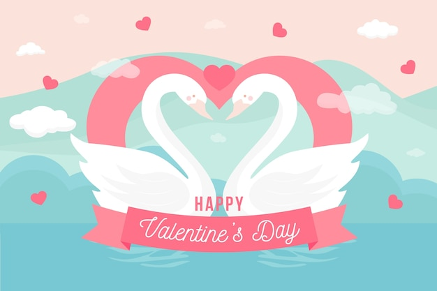 Cute valentine's day background greeting Free Vector