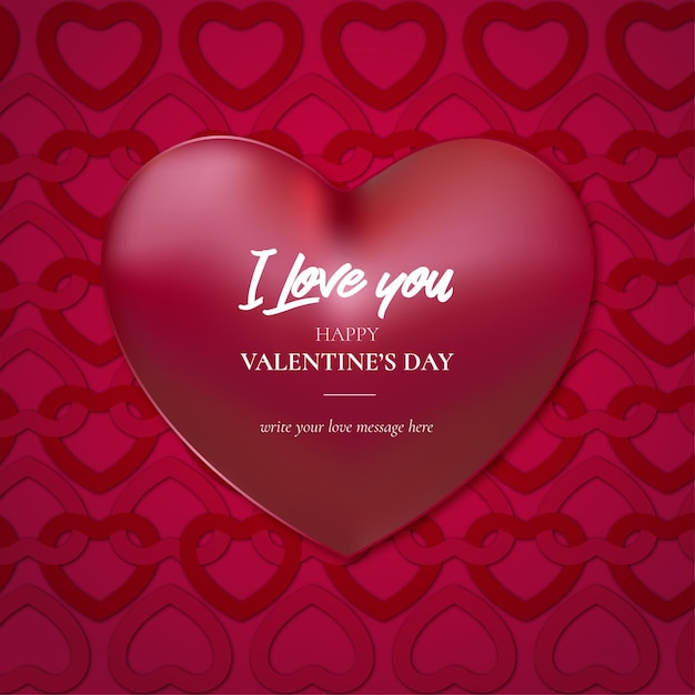 Cute valentine's day background with hearts pattern Free Vector