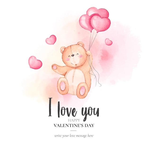 Cute valentine's day background with watercolor teddy bear Free Vector