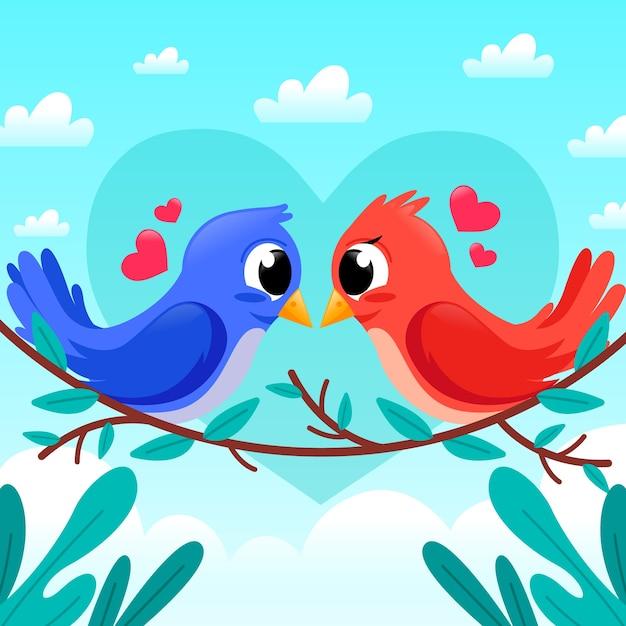 Coppia di uccelli carino san valentino Vettore gratuito