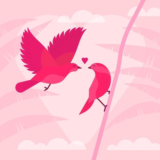 Милая пара птиц на день святого валентина Бесплатные векторы