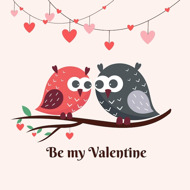 Cute valentine's day birds couple Free Vector