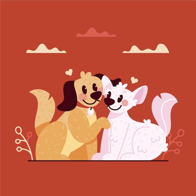 귀여운 발렌타인 고양이와 강아지 커플 무료 벡터