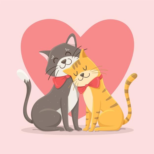 Милая пара кошек на день святого валентина Бесплатные векторы