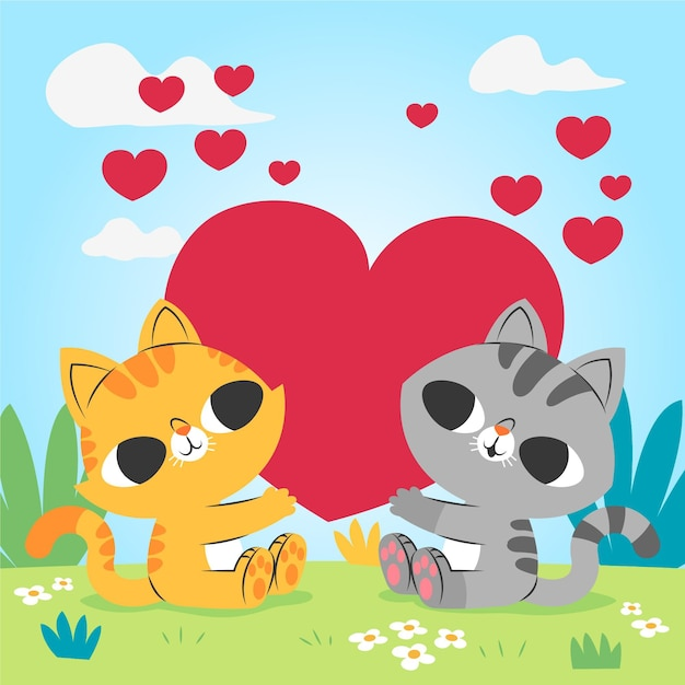 かわいいバレンタインデーの猫のカップル 無料ベクター