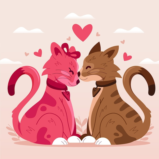 Cute valentine's day cats couple Free Vector