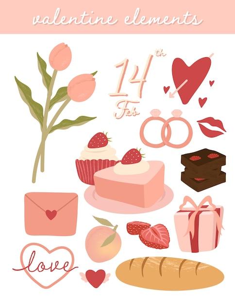 かわいいバレンタインデーの要素セット 無料ベクター