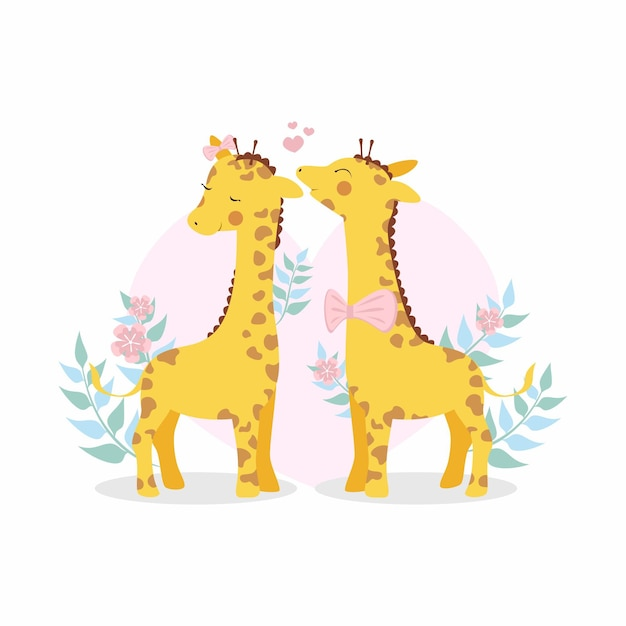 Cute valentine's day giraffe couple Free Vector