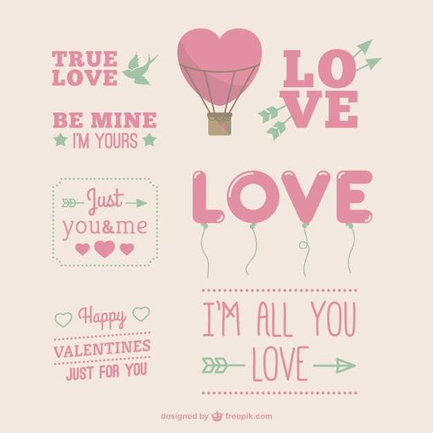 Cute Valentine's Day greetings Free Vector
