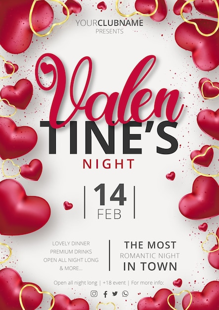 Modello di evento poster festa di san valentino carino con composizione realistica di cuori Vettore gratuito