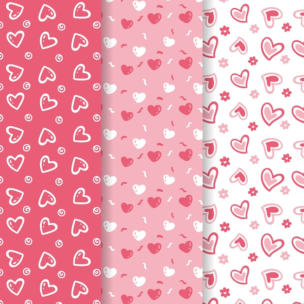 Cute valentine's day pattern collection Free Vector