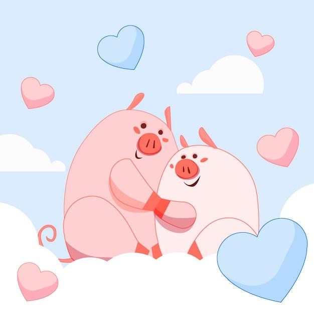 Coppia di maiali carino san valentino Vettore gratuito