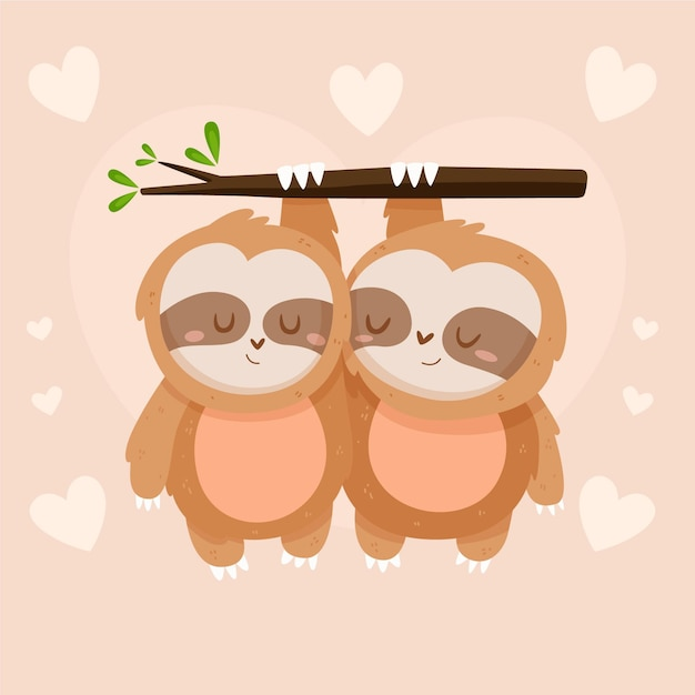 Cute valentine's day sloth couple Free Vector