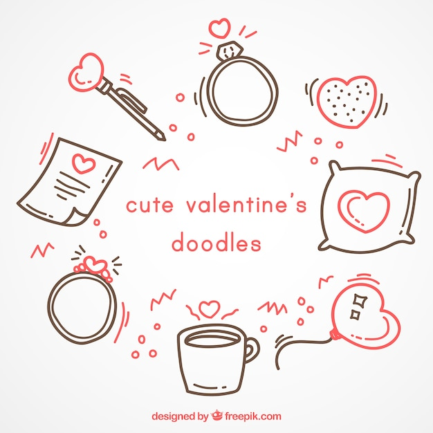 Cute valentine's doodles with red details Free Vector