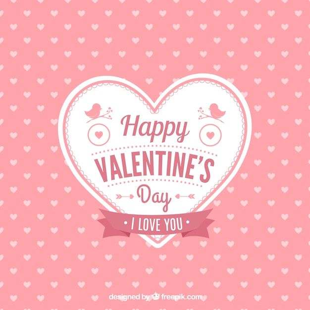 Cute valentine's heart card Free Vector
