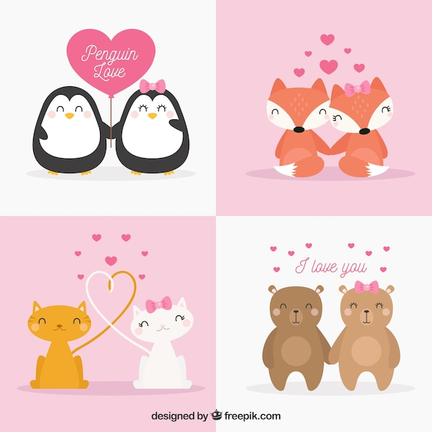 Cute valentines day animal couple collection Vector | Free Download