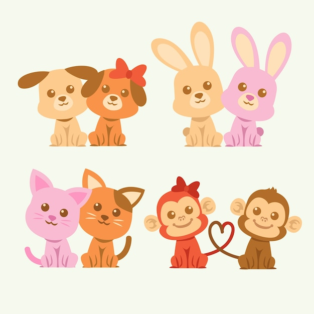 Cute valentines day animal couple illustrated Free Vector
