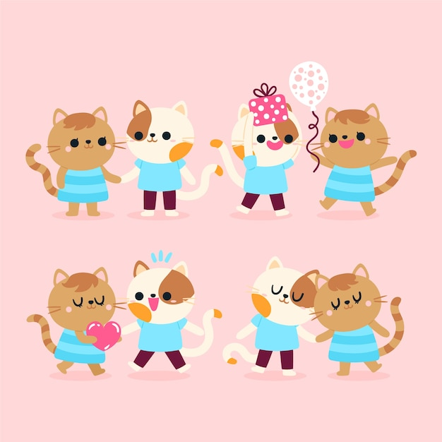 Cute valentines day animal couple Free Vector