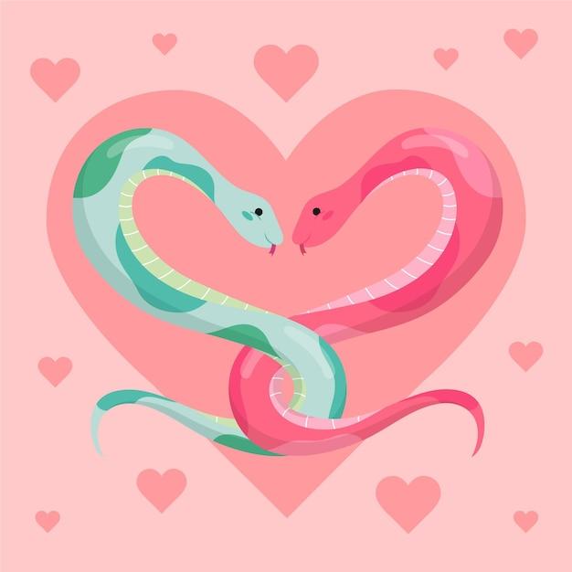 Милая пара животных на день святого валентина Бесплатные векторы