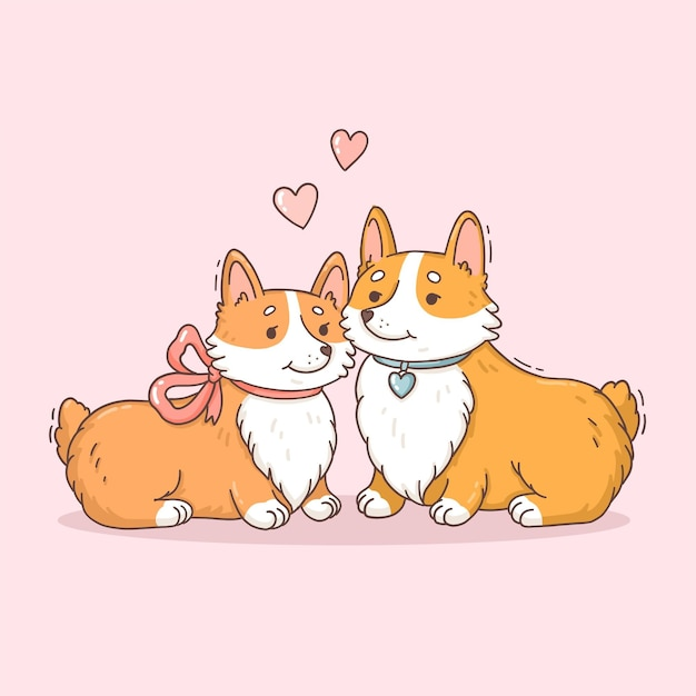 귀여운 발렌타인 데이 동물 커플 무료 벡터