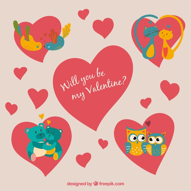 cute valentines day animals illustration free vector - Valentines Animals